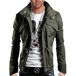 WSLCN Homme Coton Blouson de Chasse de Haut Qualité Armée Vert FR M (Asie XL)