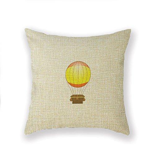 wcase Cartoon Hot Air Ballon Throw Pillow 18 X 18 Square Pillowcase Cover Cushion ()