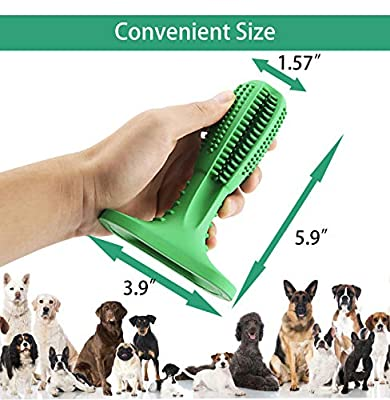 KZGRIT Dog Toothbrush, Brushing Stick, Non-Toxic Natural Rubber, Durable Bite Resistant, Teeth Cleaning Chew Toys for Medium and Large Pets Oral Dental Care(Green) by Kaizhi Information Technology Co.,Ltd.