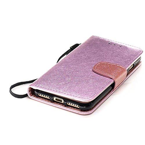 Slynmax Cover iPhone 7 / iPhone 8 Custodia Flip Case Pelle PU Cuoio Morbida Libro Magnetico Portafoglio Wallet Modello di Posta Design di Lusso in rosso + 1* Stilo Stylus Penna Capacitiva Pink