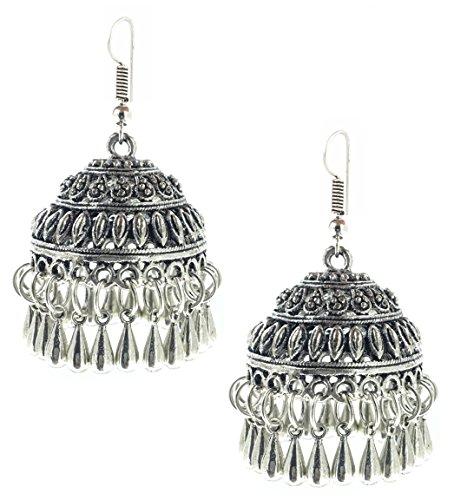 YouBella Jewellery German Silver Oxidised Fancy Party Wear Victoria Coin Jhumki Earrings for Girls and Women
