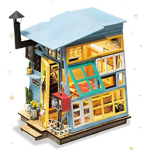 (ROLIFE Miniatur Puppenhaus mit Möbel Kit Holz DIY Haus mit Lichter 3D Craft Modell-Beste Spielzeug für Mädchen und Jungen-Top-Geschenke für Erwachsene(Holzhütte))