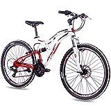 KCP 26 Zoll Mountainbike Fahrrad - MTB Fairbanks Weiss rot - Vollfederung Jugendrad Mountain Bike Unisex für Jungen Herren und Damen, MTB Fully mit 21 Gang Shimano Schaltung