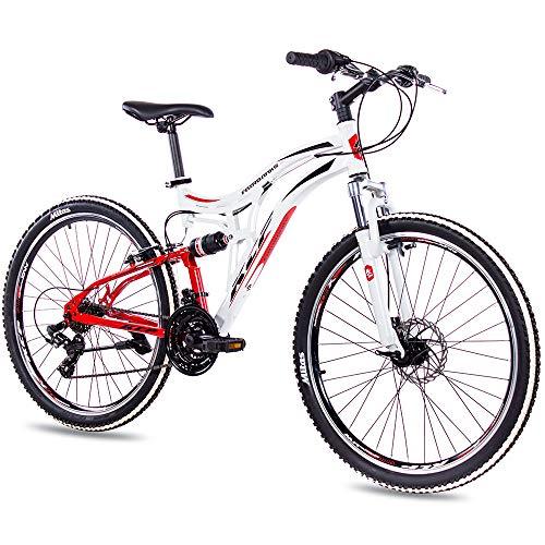 KCP 26 Zoll Mountainbike Fahrrad - MTB Fairbanks Weiss rot - Vollfederung Jugendrad Mountain Bike Unisex für Jungen Herren und Damen, MTB Fully mit 21 Gang Shimano Schaltung -