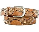 Gadzo® Damen Gürtel brauner nietengürtel nietengürtel braun damen bunt Vintage Nieten gürtel braun 90 cm K1707