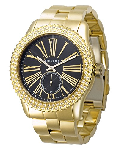 Moog Paris Petite Seconde Women / Men Watch with Black Dial, Gold Stainless Steel Strap & Swarovski Elements - M45232-006