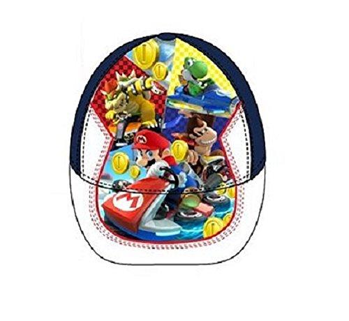 Preisvergleich Produktbild Kinderschirmmütze dunkelblau/weiß * Super Mario Kart 8 * Größe 52