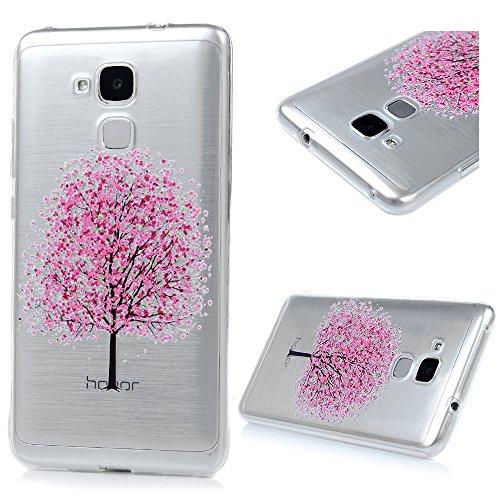 MAXFE.CO TPU Silikon Hülle für Huawei Honor 5C Handyhülle Schale Etui Protective Case Cover Rück mit Ultra slim Skin Volltonfarbe Design Skin Farbe Pflaumenbaum