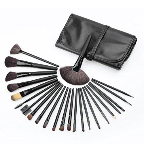 Pinceax Maquillage BZLine, 24Pcs Pinceaux Maquillage Professionnel pour les Poudres, Anticernes, Contours, Fonds de Teints, Mélanges et Eyeliner - Noir