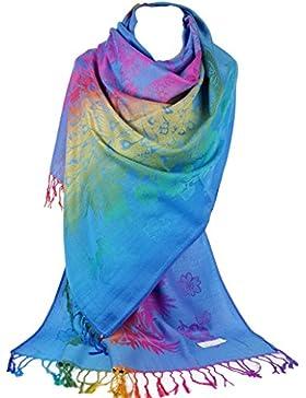 GFM Silky Feel diseño de plumas de pavo real Arco Iris Pashmina estilo Bufanda Wrap