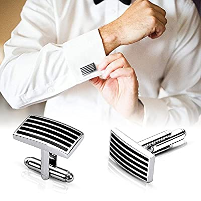 Lictin Men's Cufflinks Cuff Links for Men, 5 Pairs Stainless Steel Classic Tone Cufflinks Black Striped Cuff Links Shirt Suit Cufflinks