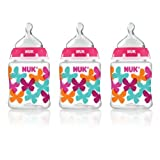 NUK Butterflies Fashion Orthodontic Bottle in Girl Patterns, 5-Ounce, 3 Count by NUK