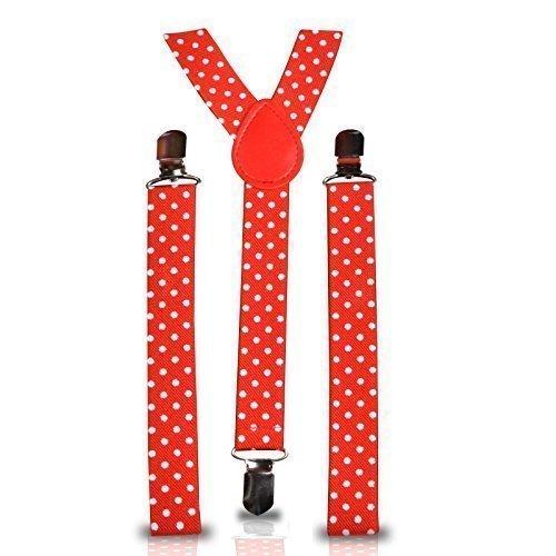 25mm verstellbar Schmal Unisex Herren Damen elastisch Hose Hosenträger Strapshalter zum anklammern für Kostüm (rot mit weißen ()