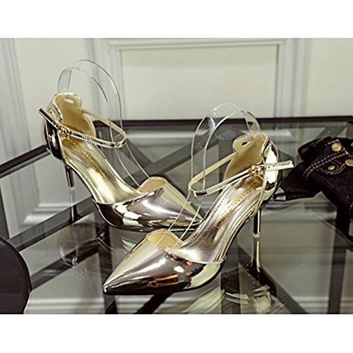 DIMAOL Scarpe Donna PU Molla Luce Caduta Suole Tacchi Gattino Tallone Punta Fibbia per Abbigliamento Casual Champagne Red Silver Gold Oro