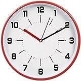 HITO ™ 30 cm avec plaque en verre et cadre en métal horloge murale à quartz avec verre, rouge
