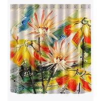 Tema de verano flores pintado de color accesorio de baño de dormitorio de tela de poliéster de decoración,con ganchos,180 * 180 cm