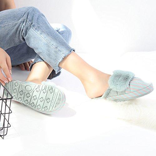 Inverno fankou piatto pantofole di cotone femmina - anti skid ispessimento degli elettrodomestici in casa e all'estero strisce impermeabili scarpe di cotone Kaffee Farbe