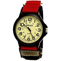 NY London Women's Men's Wrist Watch Night Glow Velcro Fastening Watch with Luminescent Dial Black Red Nylon + Watch Box