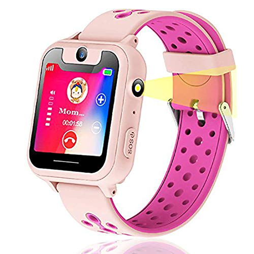 Kinder Smart Watch Phone Touchscreen Smartwatch für Kinder SOS Tracker Anruf Kamera Taschenlampen Anti-Lost für Jungen und Mädchen (S6-Rosa) - Touch-screen-wecker