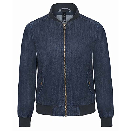 B&C Denim Damen Modern Jacke Deep Blue Denim Gr. Large, Deep Blue Denim (Bomber Distressed Brown)