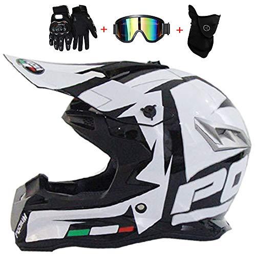 Casco de motocross de moda en blanco y negro