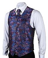 HISDERN Men's Paisley Jacquard Waistcoat Vest Suit Set 3XL(Chest size 46.5') Purple/ Blue