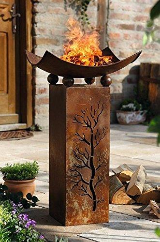 Feuersu00e4ule u201eFireu201c, 2tlg. Dekosu00e4ule, Feuerschale Dekofeuer Garten ...