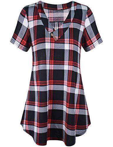 Odosalii Damen V-Ausschnitt Kariert Bluse 3/4 Ärmel Langarm Reißverschluss Tunika Longshirt Hemd Tops T-Shirt (Medium, C_rot Kariert_Kurzarm) -