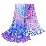 OverDose Damen Seidenschals Frauen Blumen Printed Soft Silk Chiffon Schal Wrap Schals Halstuch Tücher Schlauchschal,A-Blue