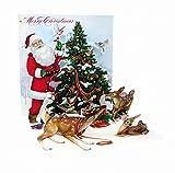 Pop Up 3D Weihnachten Karte PopShot Nikolaus Tannenbaum mit Rehen 13x13 cm