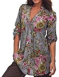 Yying Manga Larga Blusa Para Mujer Moda Cuello EN V Casual Tunic Camiseta Retro Estampado Floral