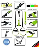 Premium Schlingentrainer von BodyCROSS  Aluminium Geschenkverpackung  inkl. Übungsposter, 10-Wochen Trainingsplan, Spacer und Befestigungsschlaufe  Functional Training  Profi Sling-Trainer  Rope-Trainer  HAND-Made in Germany (limette)