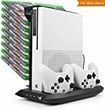 LeSB Xbox One S Vertical Stand Cooling Fan, Dual Controllers Charging Station, 18 Slots Game Storage and 4 Ports USB Hub. The 4-in-1 Cooler for your XBOX ONE S