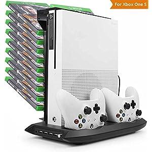 LeSB Xbox One S Standfuß – vertikaler Ständer mit eingebautem Lüfter, Doppelsteuerpulte-Ladestation, 18 Schlitz-Spiel-Speicher und 3 Häfen USB-Nabe für Xbox One S,Schwarz(Nicht für Xbox One X)