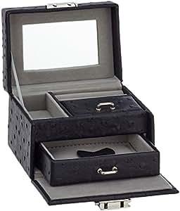 stella maris schmuckkasten schmuckschatulle schmuckkoffer mit spiegel schwarz stm cj057b. Black Bedroom Furniture Sets. Home Design Ideas