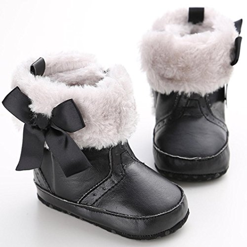 Chaussures Bébé Clode® Bébé Garçon Fille bowknot Chaussures Toddler neige Bottes d'hiver chaudes (0 ~ 6 Mois, Kaki) noir