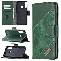 Mylne Huawei Y7 2019 Phone Case,Shockproof Crocodile Splicing PU Leather Flip Wallet Cases with Magnetic Kickstand Money Pouch Folio TPU Bumper Gel Protective Cover,Green