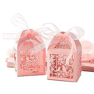 Sonline 25pcs Boite a dragees bonbons Coeur Oiseaux rose pour Mariage