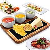 NutriChef PKSNKB10 Servierplatte aus Holz, modernes rechteckiges Tablett aus Akazienholz, flacher schwarzer Naturschiefer, 3 Keramikschüsseln, Servierplatte für Sushi, Vorspeisen, Grill, NutriChef