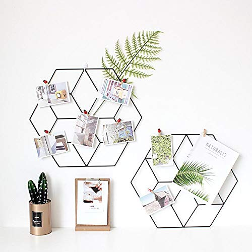 Runde Gitter (Nordic Ins Stil DIY Innovative Rack Hexagonal Schmiedeeisen Gitter Rot Foto Wandregal Dekoration)
