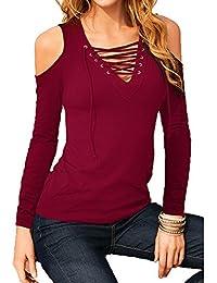 Donna T-Shirt Sexy Senza Spalline Spalla Pizzo Tank Top Camicia V Collo  Maniche Lunghe Casual Pullover Moda Tinta Unita Sciolto Camicetta… 67eee009af0