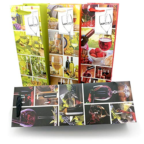 Evergreen Goods Ltd Lot de 8 sachets cadeau pour bouteille de vin avec étiquette cadeau et poignées Motif saisons pour anniversaire, anniversaire, occasions spéciales, H : 39 cm x l : 12 cm x P : 9 cm