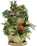 Self Watering STONE coloured UV resistant plastic Plant & Flower Pots - Stackable MEDIUM Planter Tubs with Tray (Flowers not included) (3 Tiers)