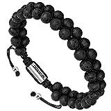 Bracelet en pierre en cuir pour les hommes, Bracelet réglable de perles avec huile...