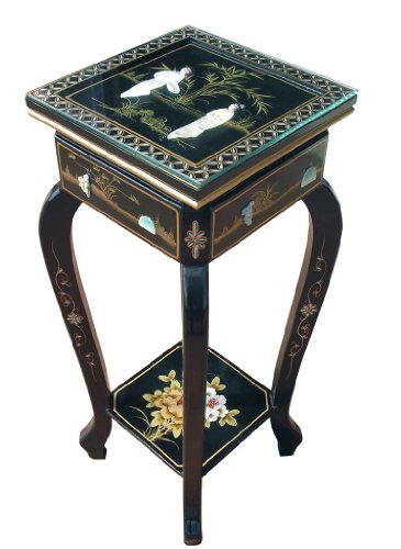 Oriental Chinese Furniture - Mother of Pearl Hand Painted Plant/Pedestal Stand With Glass Top