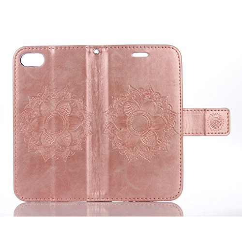 EKINHUI Case Cover Für IPhone 7 PU Ledertasche, Mandala Blume geprägtes Muster Schutzhülle Folio Flip Stand Brieftasche Case Beutel mit Lanyard & Halter & Card Cash Slots ( Color : Rose Gold ) Rose Gold