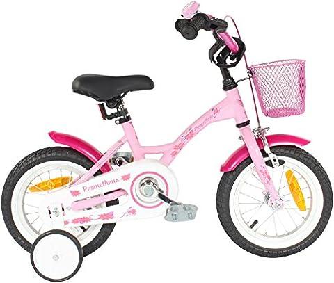 PROMETHEUS Vélo enfant pour filles 12 pouces en rose &