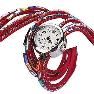 Minetom Damen Fashion Retro Quarzuhr Armreif Leder Armbanduhr Damenuhr Uhr ( Rot )
