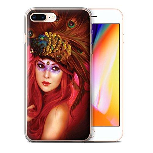 Officiel Elena Dudina Coque / Etui Gel TPU pour Apple iPhone 8 Plus / Colibries/Des Roses Design / Les Oiseaux Collection Beau Paon