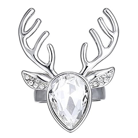 eManco Deer Antler Animal Skull Clear White Crystal Silver Statement Ring for Women Christmas Gift Copper